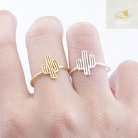 GORGEOUS TALE Tiny Cactus Ring Desert Adjustable Rose Gold Color Succulent Summer Plant Outline Perfect Gift For Her Jewelry