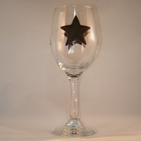 Rustic Western Star Wineglass made with polymer clay, wedding decor