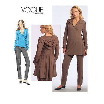 VOGUE TUNIC, PANTS Pattern Fit & Flare Hoodie Wrap Tunic Vogue 1061 Betzina Today's Fit Bust 32 - 55 UNCuT Plus Size Womens Sewing Patterns