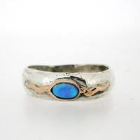 Porans, Handcrafted Silver & Gold Ring, Opal, Unique Design by Amir Poran, Israel