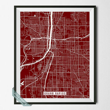 Grand Rapids Poster, Michigan Poster, Grand Rapids Print, Grand Rapids Map, Michigan Print, Michigan Map, Street Map, Wall Art