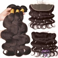 Brazilian Body Wave Hair Extensions 3 Bundles With Lace Frontal Closure