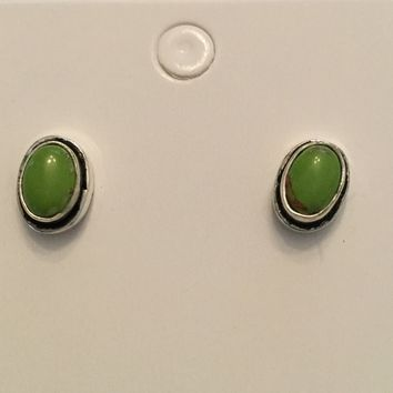 Green Turquoise sterling silver stud earrings