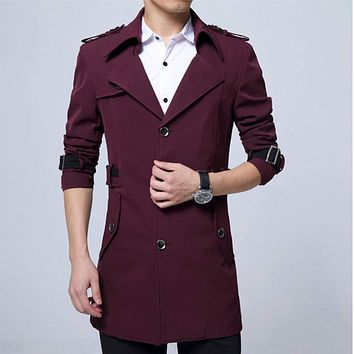 Mens Military Style Trench Coat in Wine