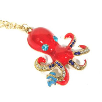 Red Enamel Octopus Necklace Ocean Crystal Vintage Statement Pendant Gold Tone NJ47 Fashion Jewelry