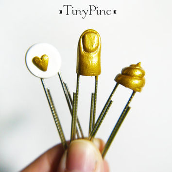 Planner Charms - Goldfinger, Heart & Gold Poop