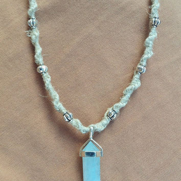 Hand-crafted 9.25 silver Adventurine pendant on organic hemp necklace