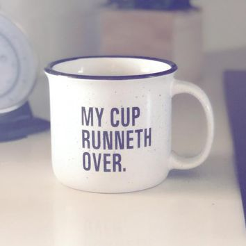 My Cup Runneth Over Vintage Mug {Speckle White}