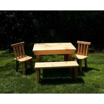 Moon Valley Rustic The Nicholas Cedar Table Set 1 Table, 2 Chairs, 2 Benches