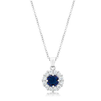 Belle Sapphire Blue Round Halo Pendant Necklace | 4ct  | Cubic Zirconia