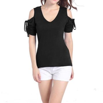 Summer Ladies T-shirt Womens Cold Shoulder Short Sleeve Fashion T shirt Casual Low Cut Shirt Tops