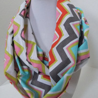 Chevron Infinity Scarf - Loop Scarf - Circle Scarf -made by me with colorful Chevron fabric -Easter orSpringScarf