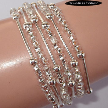 Seed and Noodle Bead Stretch Bracelets - Sold in Sets of 3 - Silver Seed Beads w/Silver Noodle Beads (SN102)
