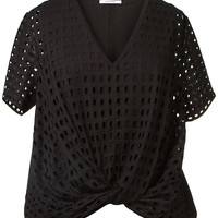 CARVEN BLACK OPENWORK COTON TOP