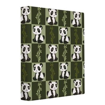 Panda Bamboo Shoot Checkered Pattern Vinyl Binders from Zazzle.com