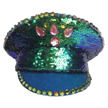 Green Mermaid Sequin Military Cap