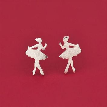 SHUANGR 1 Pair/lot Cute Ballet Girl Stud Earrings Graduation Gift for Sisters Women Fashion Jewelry Ballerina