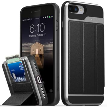 iPhone 7 Plus Wallet Case, Vena [vCommute] Flip Leather Back [Card Slot Holder][