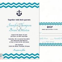 Nautical Wedding Invitation and RSVP Card - Navy and Turquoise Wedding Invitation (Printable) Navy Wedding Invitation - Chevron Invitation
