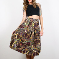 Vintage Leopard Print Skirt Midi Skirt Baroque Print Skirt Brown Black Animal Gold Chain Print Secretary Dress Skirt 1980s 80s M Medium