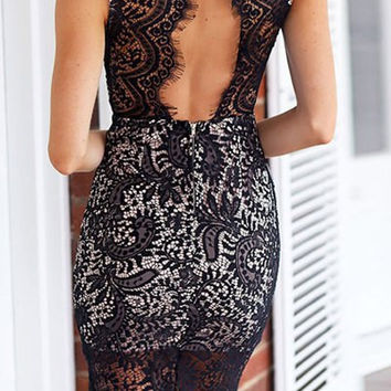 Black Lace Panel Mini Dress