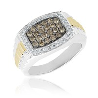 Men's Two-Tone Champagne and Diamond Ring 1ctw
