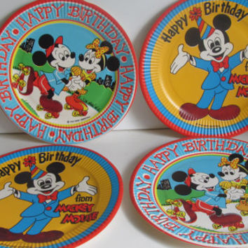 Vintage Mickey Mouse Birthday Party Plates Mickey Birthday Decor Disney Paper Ephemera Birthday Banner Decor