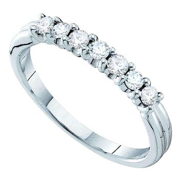 14kt White Gold Women's Round Pave-set Diamond Single Row Wedding Band 1/3 Cttw - FREE Shipping (US/CAN)