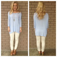 Baby Blue 3/4 Sleeve Jersey Top
