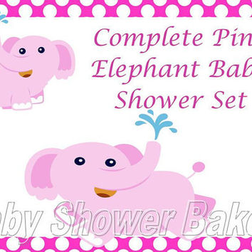 Printable Baby Shower Set, Pink Elephant Baby Shower Set, Complete Baby Shower Set, Girl Elephant Baby Shower