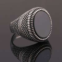 Black Glass Men Fashion Ring