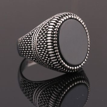 Black Glass Men Wedding Rings for Engagement Party Jewelry Stainless Steel Punk Rings for Men/Male Rings Jewelry