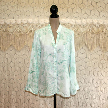 Light Green Blouse Floral Shirt Linen Tunic Tops Long Sleeve Large Button Up Collarless Loose Fit Mint Green Size 14 Blouse Womens Clothing