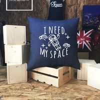 I NEED MY SPACE Nasa Pillow cover Jean cotton canvas, Cushion cover, pillow cover, small pillow case, 16x16 , canvas pillow cover