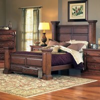 Progressive Furniture Torreon Storage Poster Bed - Antique Pine | www.hayneedle.com