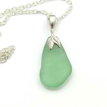 Sea Green Sea Glass Pendant Necklace, Mermaid STELLA, Sea Glass Jewelry, Sea Glass Pendant, Sea Glass Jewellery, Recycled Glass Upcycled