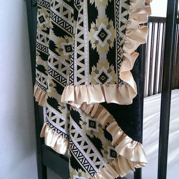 Black & gold baby girl minky blanket - aztec tribal gold ruffle modern baby nursery decor 35.5in. x 36.5in