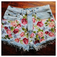 Floral Print Jean Shorts  by SheaBoutique on Etsy
