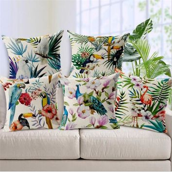 """Square 18"""" Hand Printed Parrot Peacock Pillow Covering Flamingos Linen Cotton Cushion Decorative Customized Drop Shipping"""