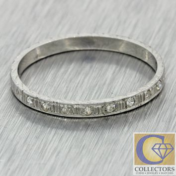 1930s Antique Art Deco 18k White Gold Diamond Engraved Wedding Band Ring J8