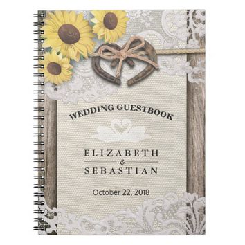 Horseshoes Burlap Lace Sunflower Wedding Guestbook Spiral Notebook