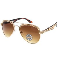 Addison Swarovski Crystal Embellished Aviator Sunglasses