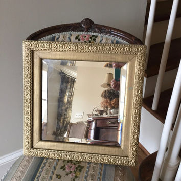 Vintage Beveled Mirror, Gold Tone Gesso Frame, Square Mirror, Shabby Cottage Decor, Farmhouse Wall Decor, Decorative Mirror