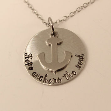 Hope anchors the soul - Pewter and stainless steel necklace