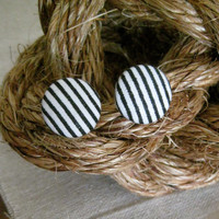 FREE SHIPPING Black & White Stripe Fabric Button Earrings - Post Back 5/8 inches