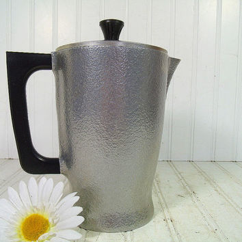 Mid Century Hammered Aluminum Coffee Pot - Vintage Club Aluminum HammerCraft Cook Ware Pitcher - Retro Silver Textured Metal 2 Piece Server