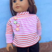 18 Inch Doll Clothes, Striped Shirt and Black Leggings, White, Pink, Orange, and Sparkly Red Striped Shirt, Fits American Girl Dolls