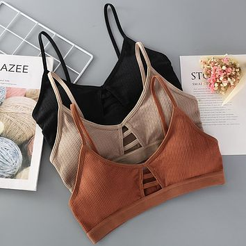 Thin Strap Bralette Seamless Hollow Out Soft Wireless Push Up Bra