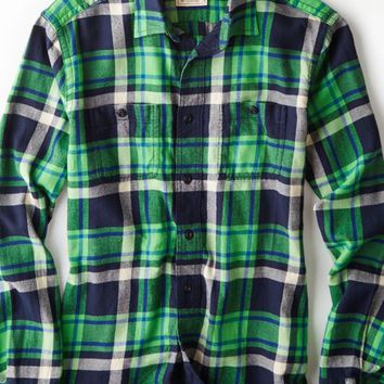 AEO 's Heritage Flannel Shirt (Green)