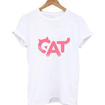 Cat Word In Form of Cat Funny Cat Meow Print Shirt
